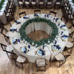 Anderson Party Rental Serpentine Tables, Linens and China