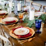 Farm Table with colored goblets